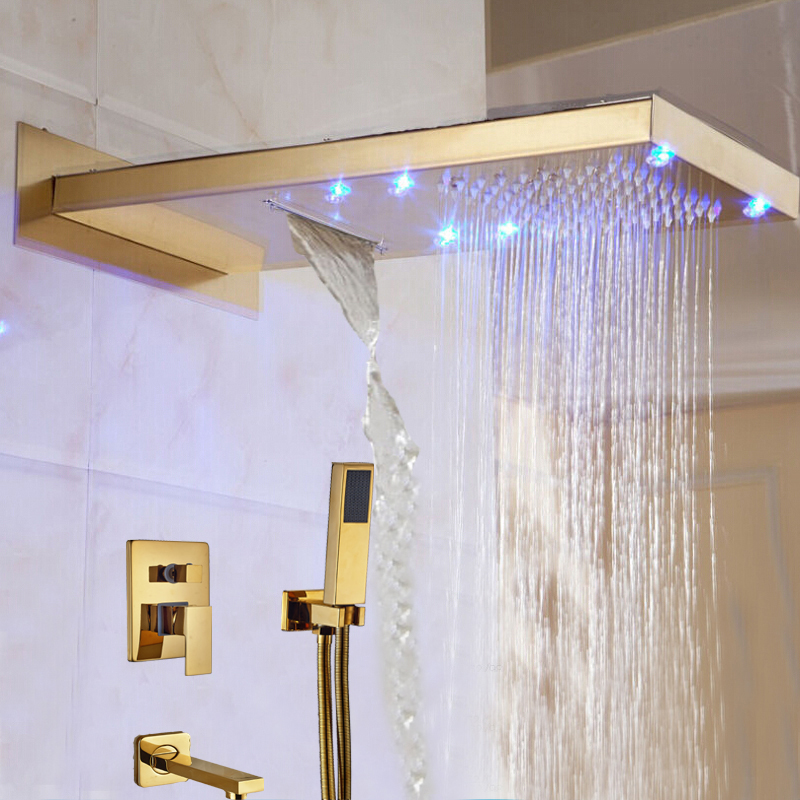 gold rain shower head. Lava Wall Mount Color Changing LED Gold Finish Shower Set with Handheld  Head LargeShower Rain