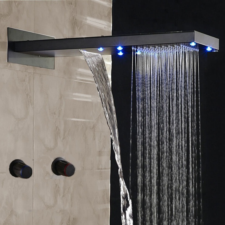Double Handles LED Waterfall Oil Rubbed Bronze Rain Shower Systems  Heads