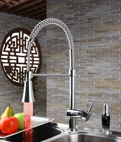 LED Kitchen Faucet with Mixer Tap with Pullout Tube Light Changing LED