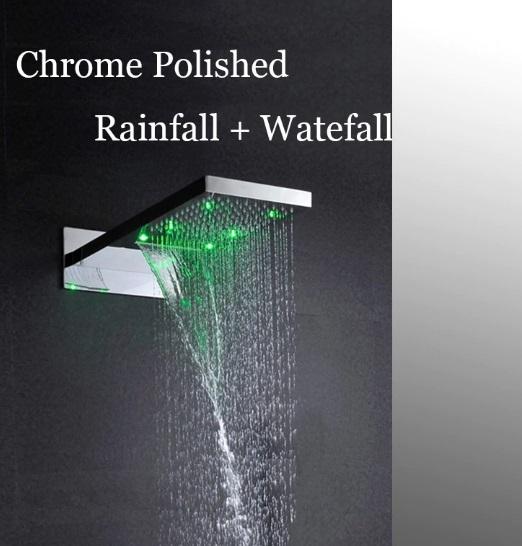 LED Luxury Rain Waterfall Bathroom Shower Head with Hand Shower & Faucet