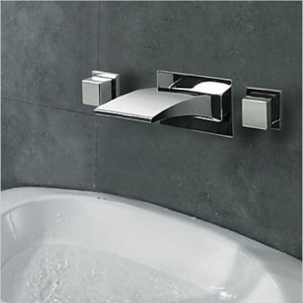 Lucca LED Waterfall Bathroom Sink Faucet Tub Mixer Tap In Chrome