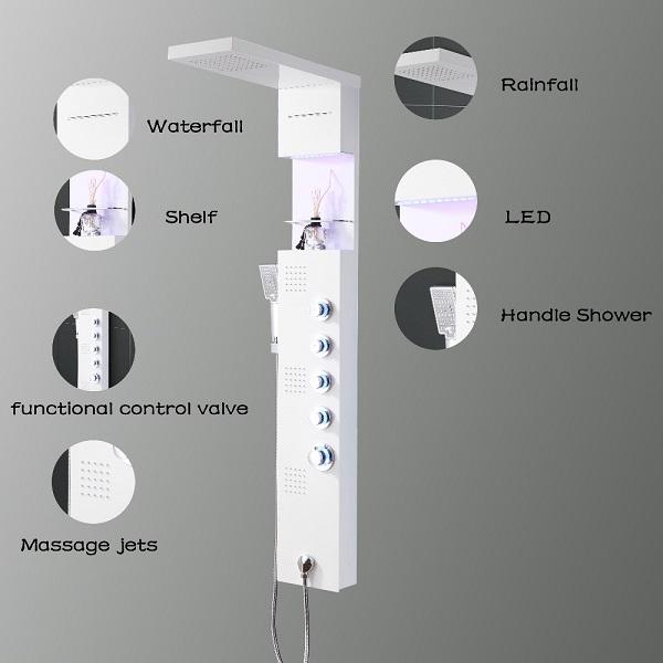 Luxury design LED rainfall Waterfall shower panel