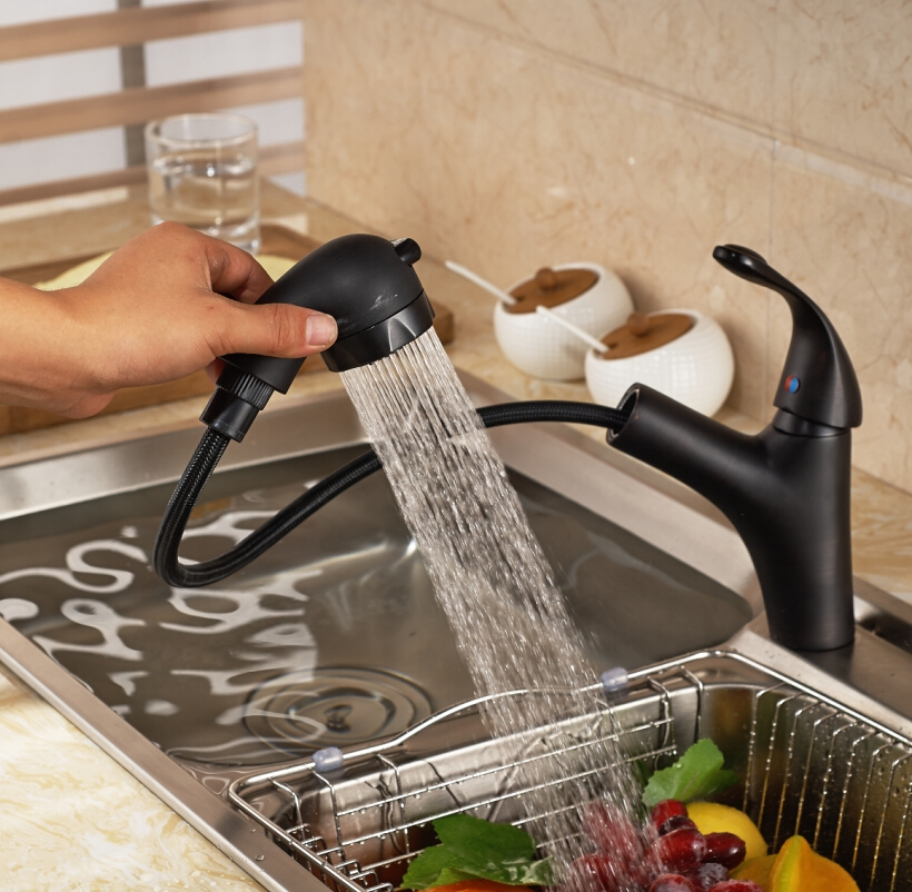Luxury Pull Out Sprayer Deck Kitchen Sink Faucet