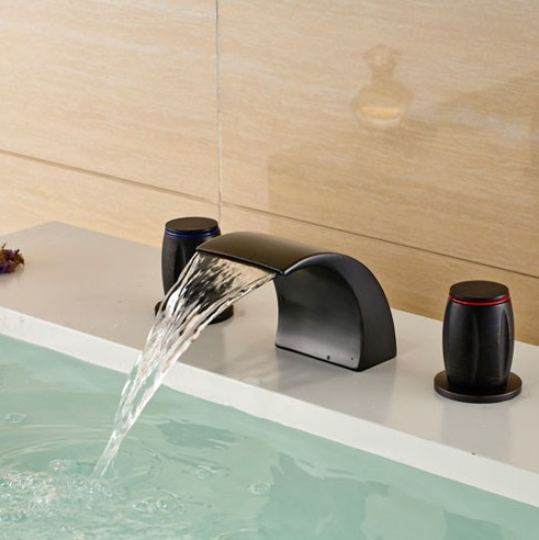 Oil Rubbed Bronze Waterfall Basin Sink Faucet