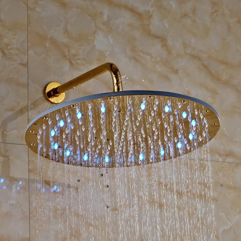 Luxury Round Gold Finish Wall Mounted LED Shower Head