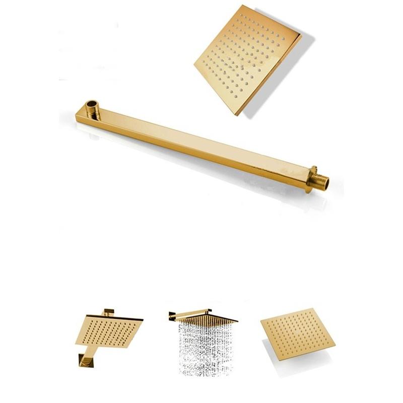 Luxury Wide Golden Rain Bathroom Shower with Arm Shower