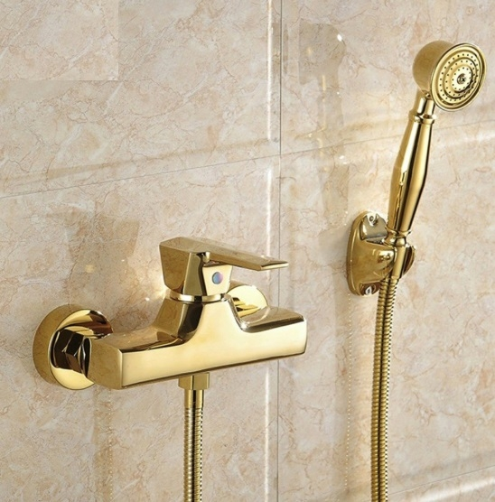 Gold Single Handle Wall Mount Bathroom Mixer Shower Head