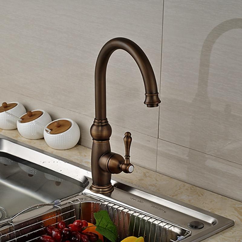 Antique Brass Single Handle Spout Rotating Kitchen Faucet