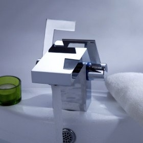 Modern Chrome Finish Dual Handle Bathroom Sink Faucet