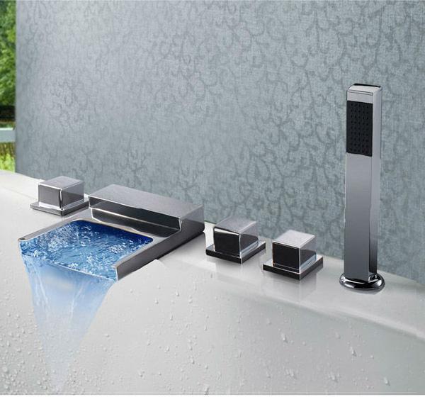 Wide Spread Bathroom Bathtub Bath-Tub LED Waterfall Faucet with Hand-Shower
