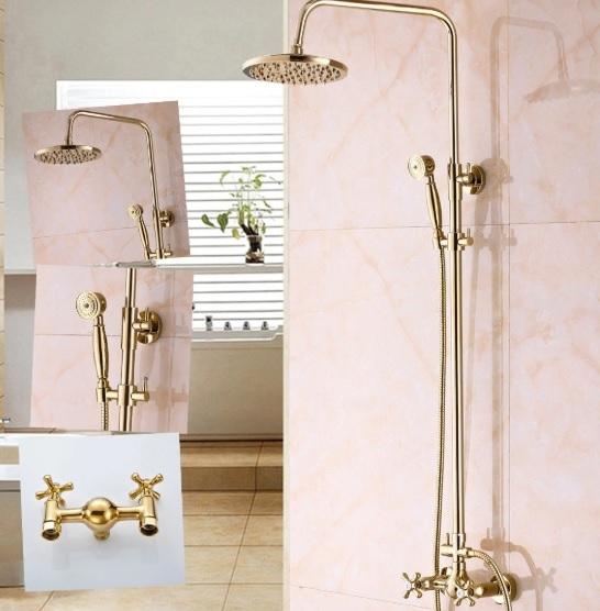 Modern Design Round Rain Gold Brass Shower Mixer Shower with Hand Held Shower