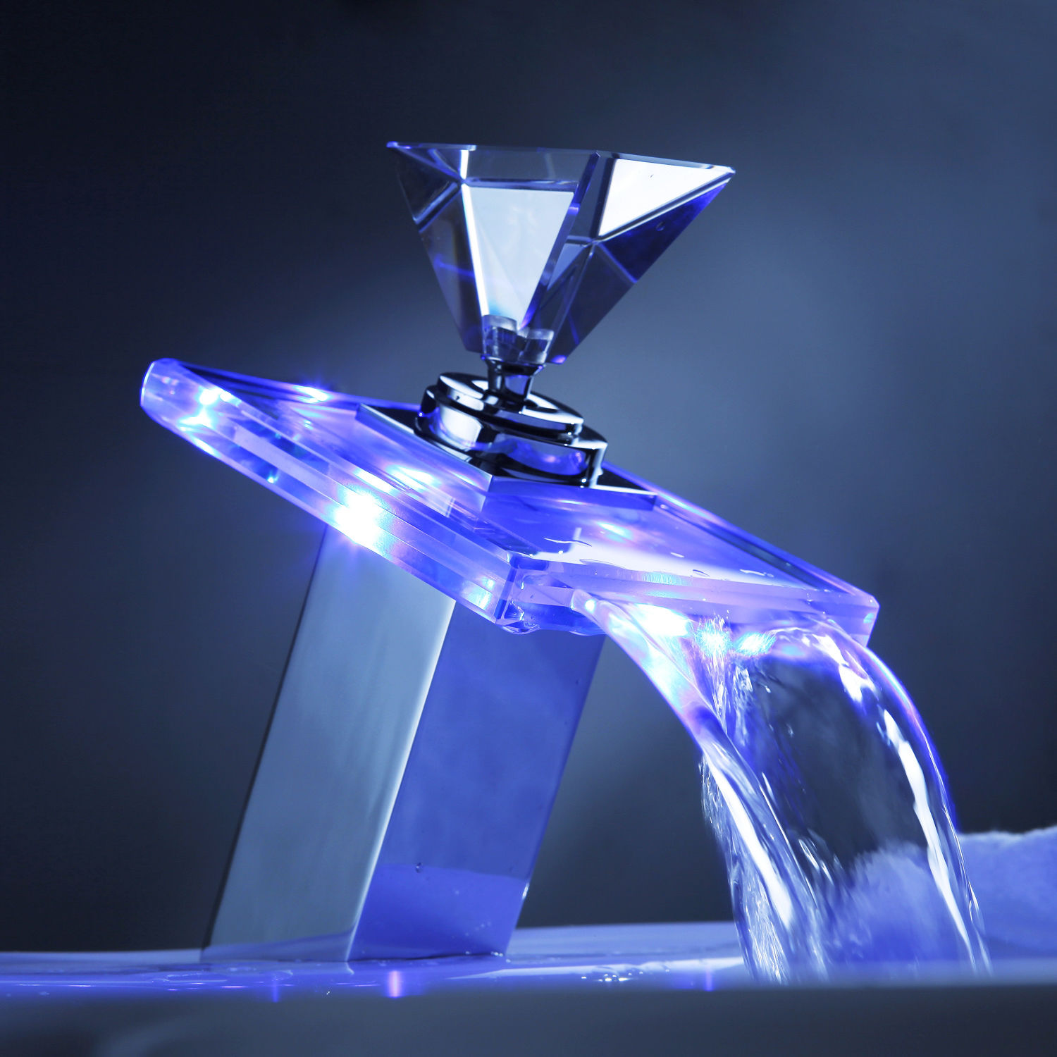 Moonlight Color Changing LED Waterfall Bathroom Basin Sink Glass Top Faucet