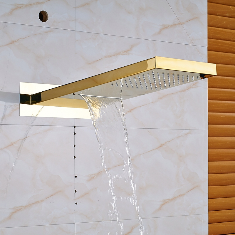 Natural Rainy Waterfall LED Widespread Shower Head with Hand-Held Shower