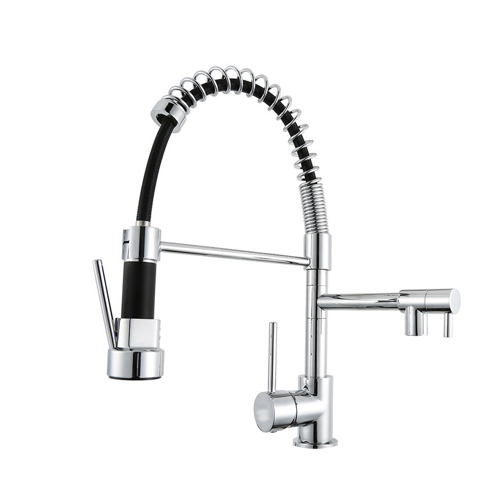 New Design Chrome Finish Pull Down Spring Kitchen Faucet Swivel Spout Vessel Sink