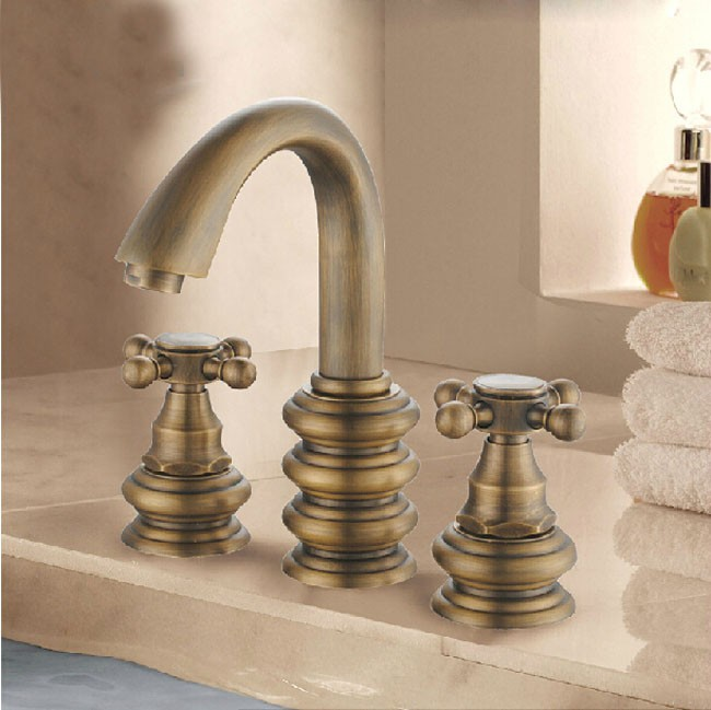 New Dual Handle Bathroom Sink Faucet in Antique Faucet