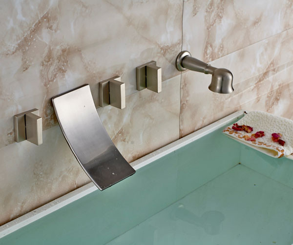 New Triple Handle Nickle Brushed Waterfall Faucet in Bathtub Faucet