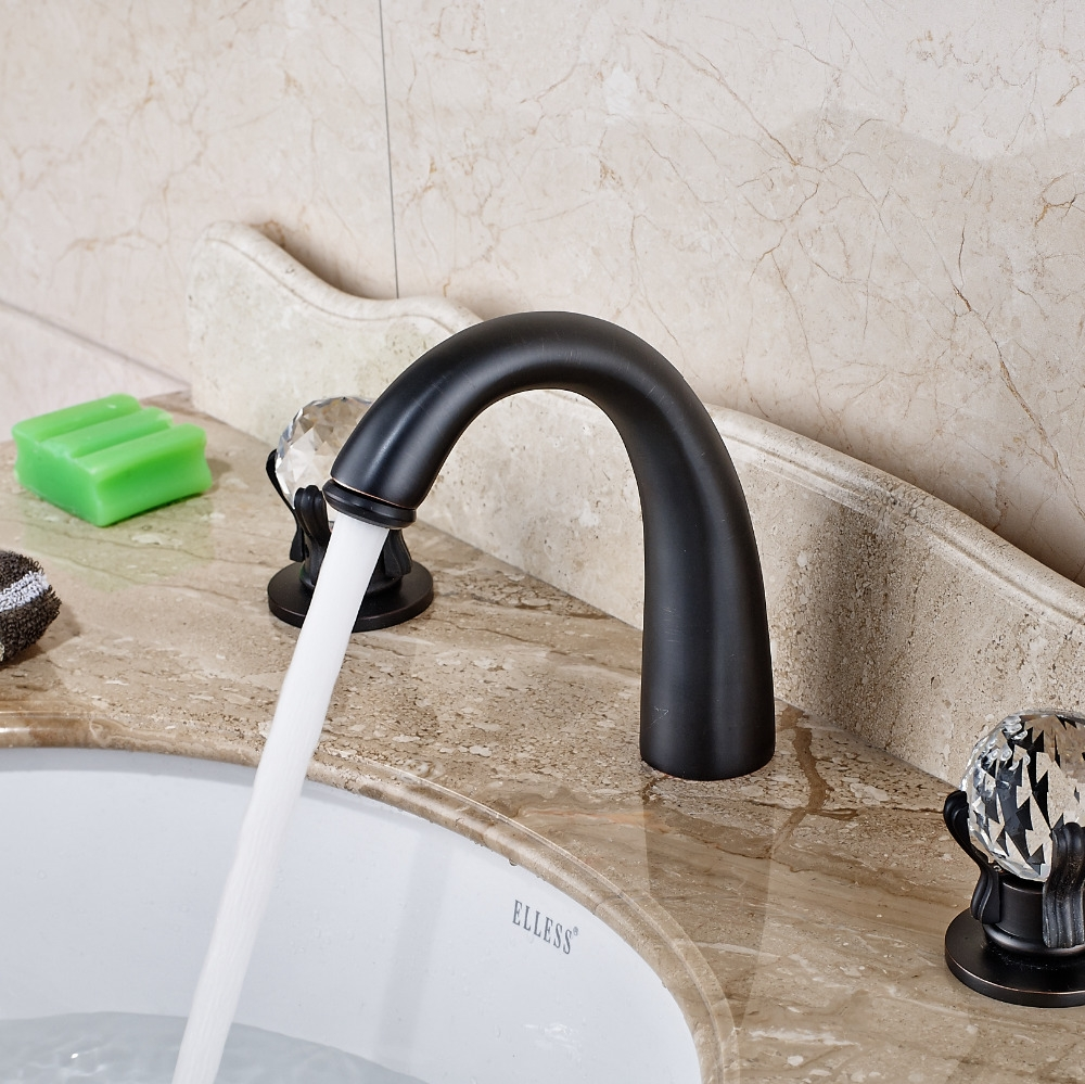 Oil Rubbed Bronze Deck Mounted Double Crystal Handle Mixer Faucet