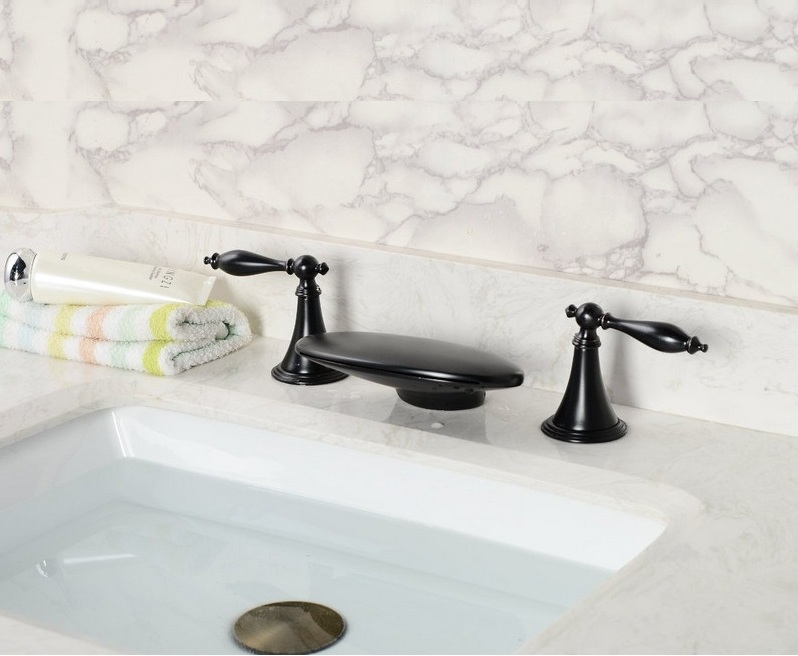 Dual Handle Gold Finish / Oil Rubbed Bronze Finish Waterfall Bath-Tub Faucet