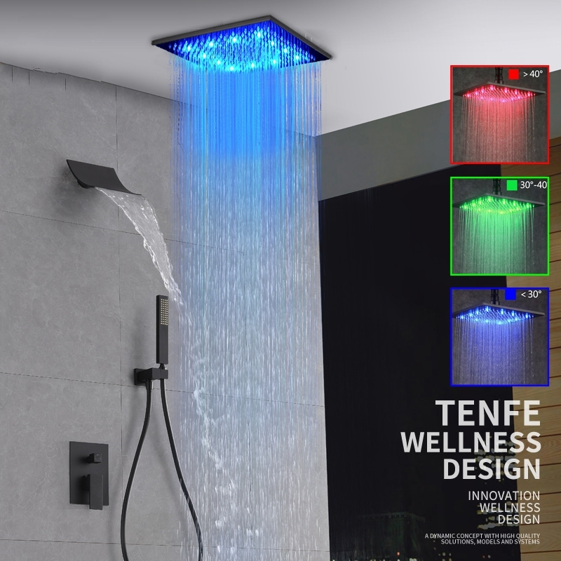ORB Water Rainfall LED Bathroom Shower with Hand Held Shower