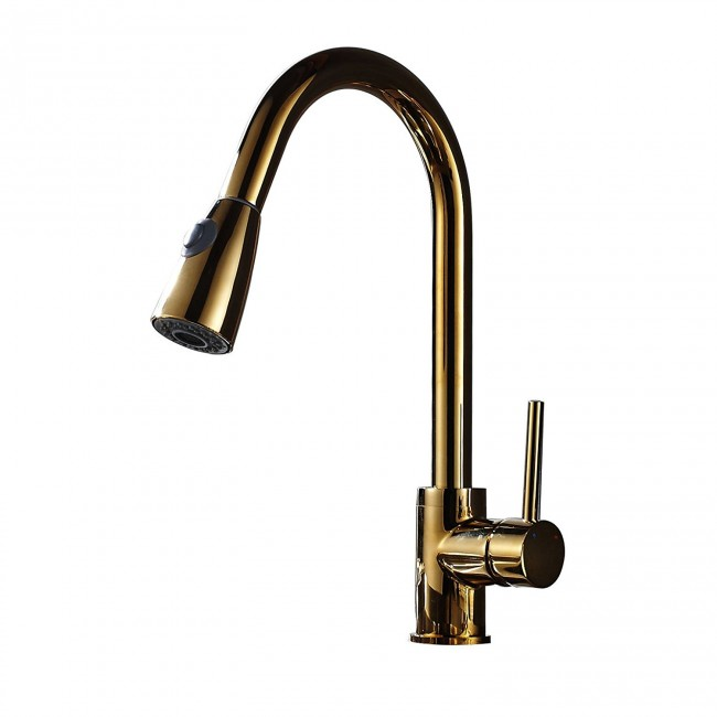 Pull Out Spray Mixer Tap Deck Mounted Kitchen Sink Faucet