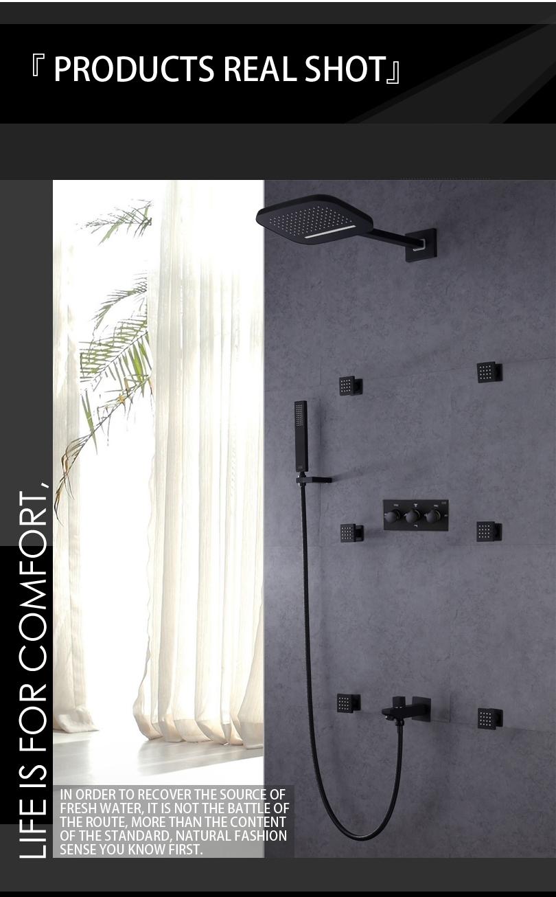 Rain Waterfall Mixer Wall Mounted Bathroom Shower with Handheld Shower & Body Jet