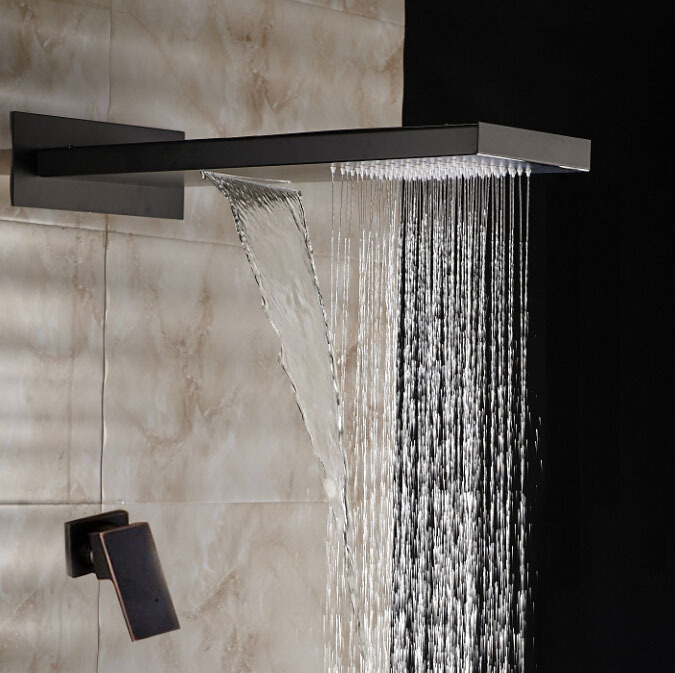 waterfall rainfall oil rubbed bronze shower system