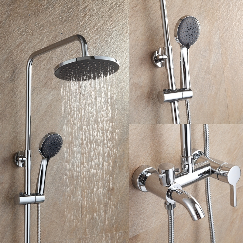 Rainfall Wall Mounted Shower Faucet Set with Hand-Held Shower