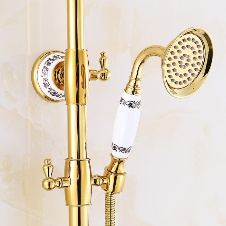 Rainy Gold Waterfall Bathroom Faucet Shower & Hand-Held Shower