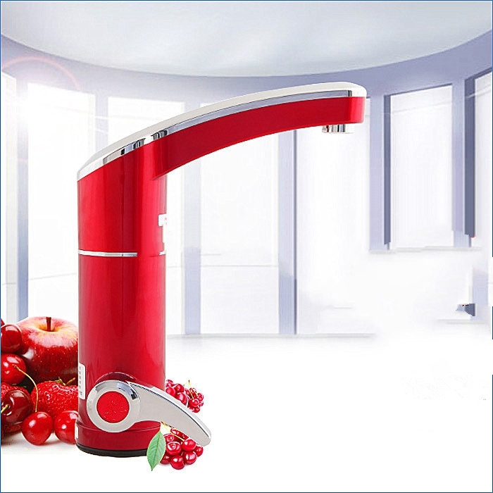 Red Chrome Deck Mounted Electric Single Handle Bathroom Faucet