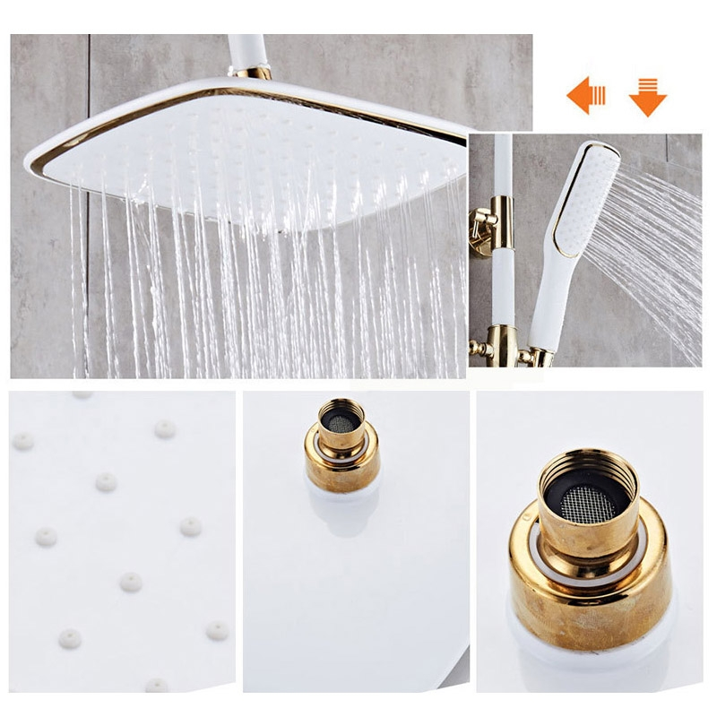 Rich Luxury Waterfall Painted Wall Mount Shower Head with Handheld Shower