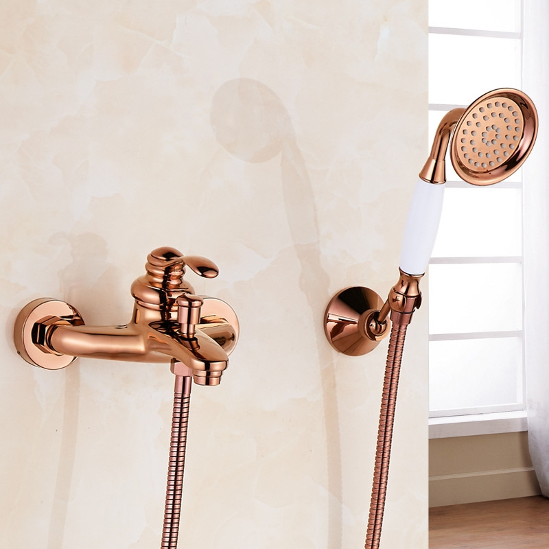 Rose Gold Polished Single Handle Wall Installation Bathtub Faucet with Handheld Shower