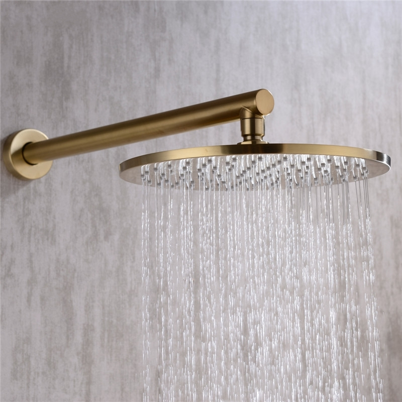 Round Gold Wall Mounted Single Handle Bathroom Shower
