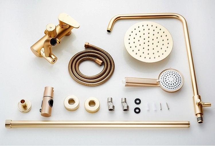 """Round Luxury Gold 8"""" Bathroom Shower with Handheld Shower"""