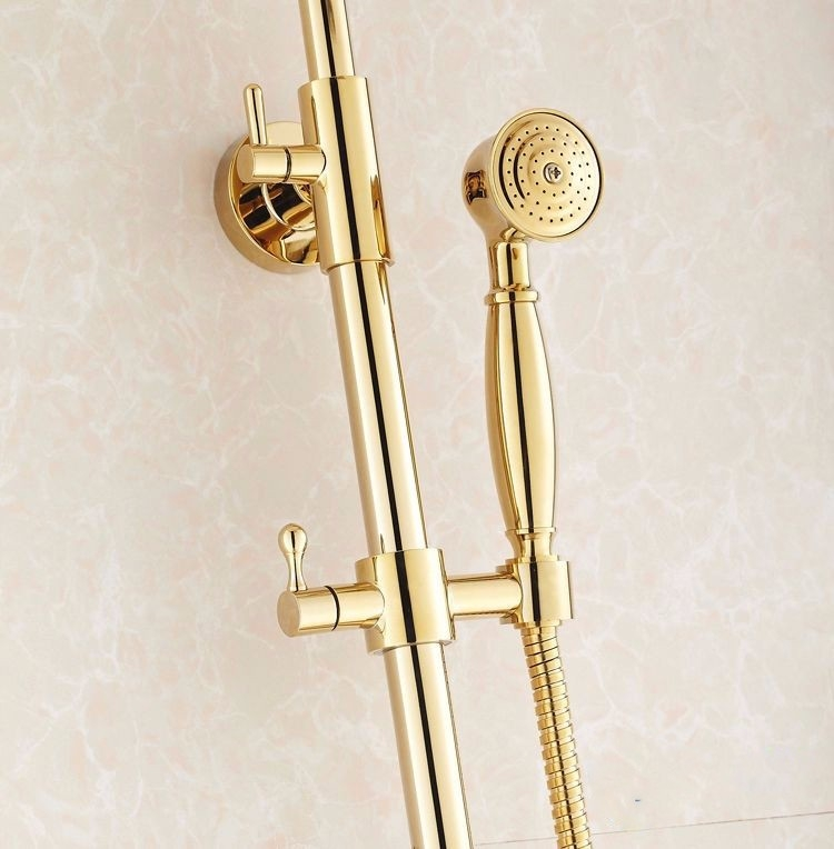 Round Rain Gold Brass Shower Mixer Faucet with Hand Held Shower