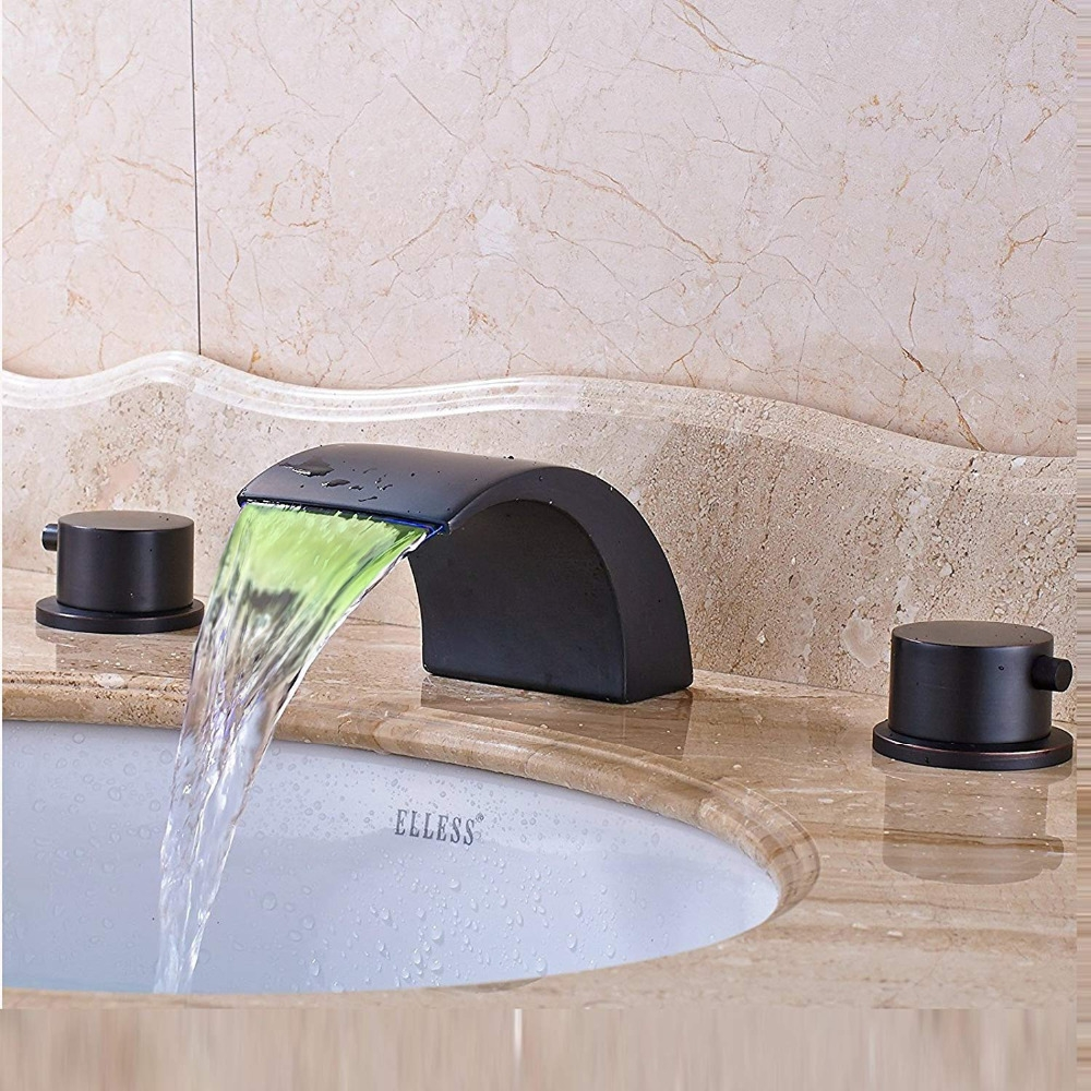 Round Widespread Black Finish Color Changing LED Bathtub Faucet