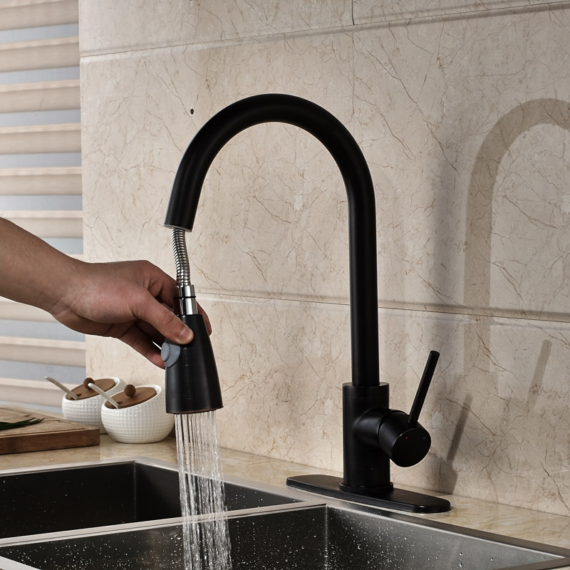 Royal Black Pull Out Single Handle Sprayer Kitchen Faucet