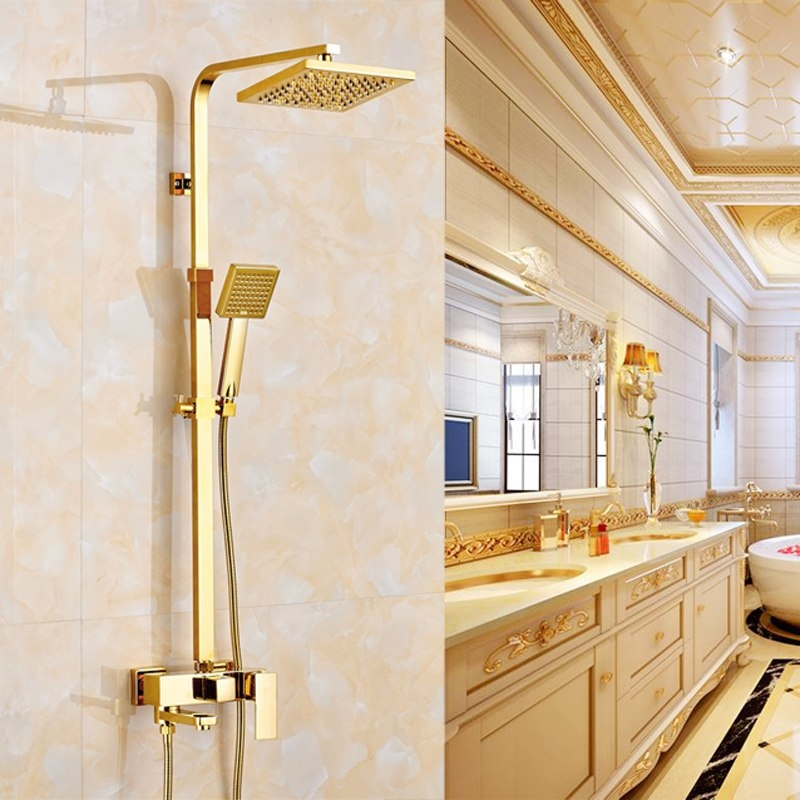 Royal Luxury Water Rainfall Gold Wall 8 inch Shower & Hand Held Shower