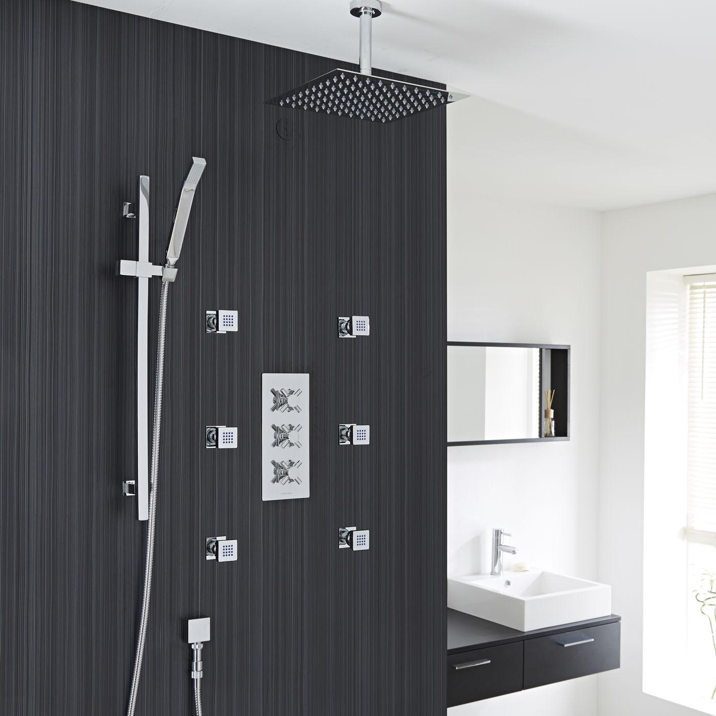 Lyon Crystal Thermostatic 3 Outlet Shower System Set