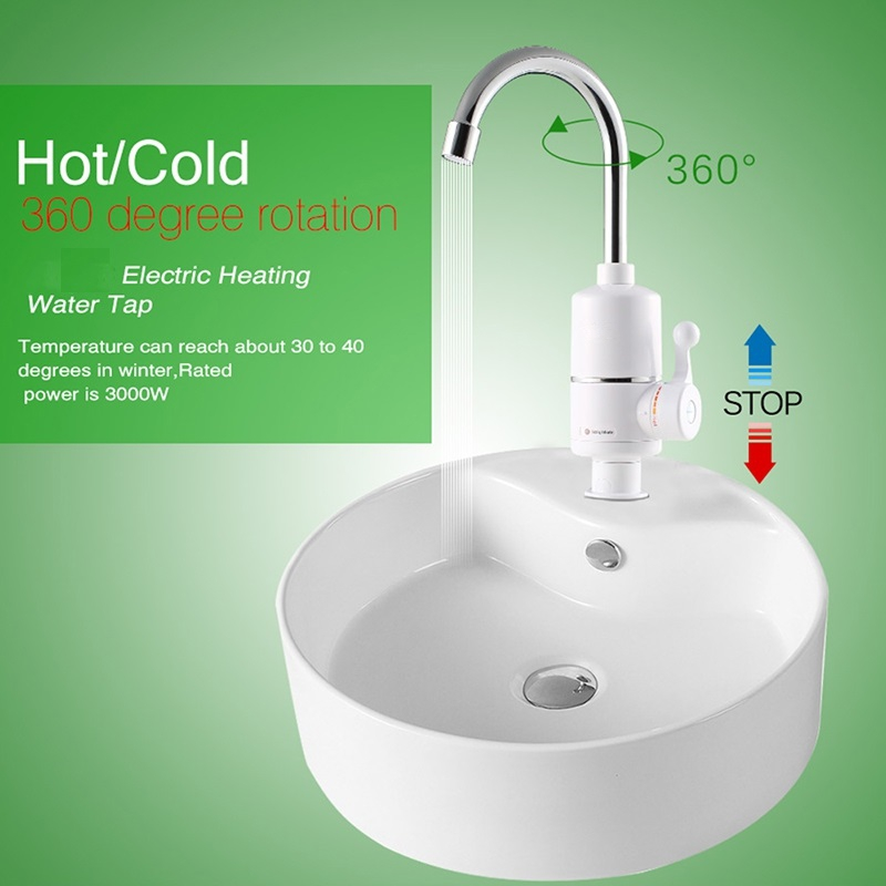 White Electric Instant Hot Water Heater Kitchen Faucet