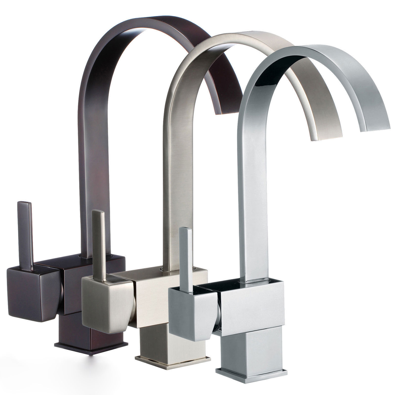 Single Handle Bathroom / Kitchen Waterfall Sink Faucet Bornze / Nickel Brushed / Polished Chrome