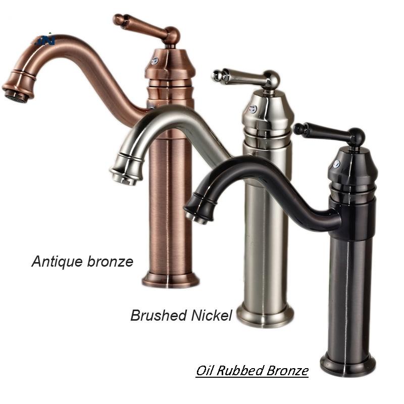 Single Handle Brushed Nickel Bathroom Sink Faucet
