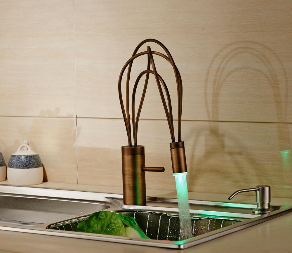 Single Handle Antique Brass Finish Deck Mount LED Kitchen Faucet