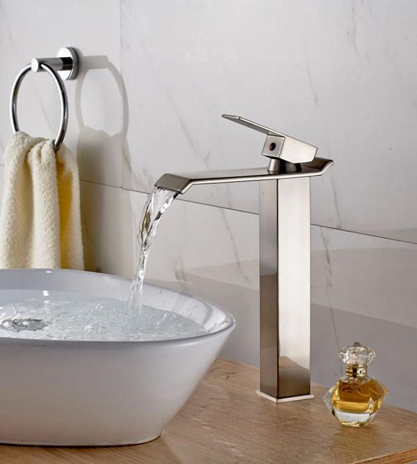 Juno Square Brushed Nickel Deck Mount, Bathroom Vessel Faucets