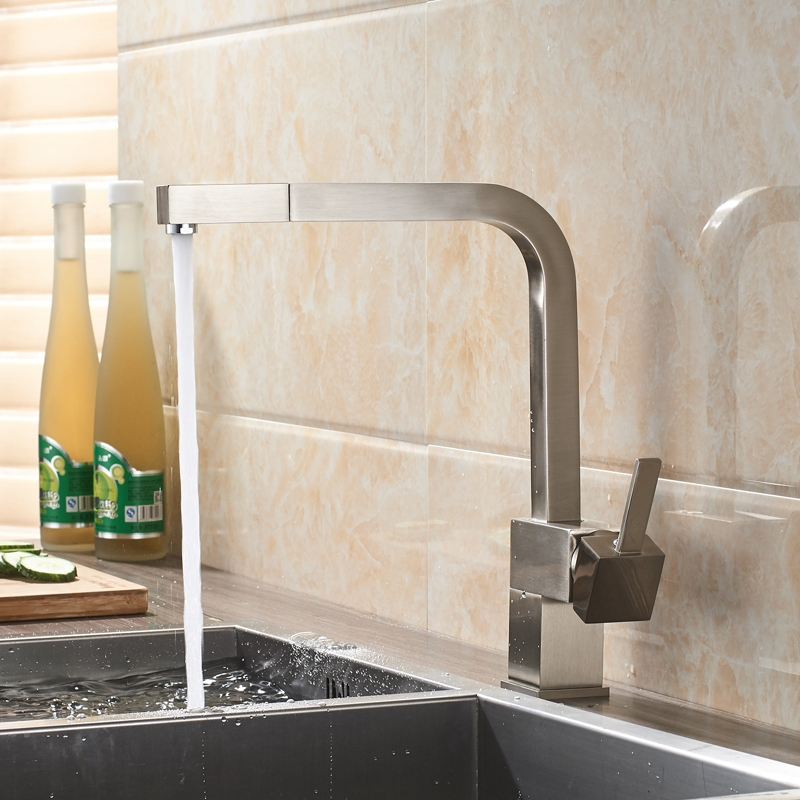 Square Base Single Handle 360-Degree Pull Out Curved Kitchen Faucet