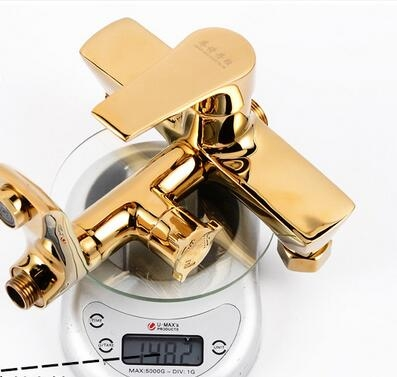 Square Gold Bathroom Shower Faucet with White Hand Held Shower