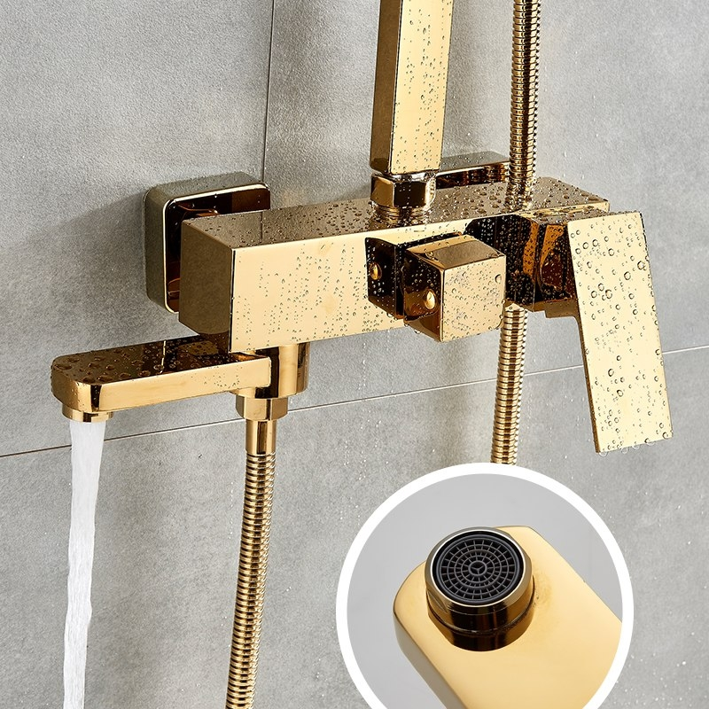 Square Gold Polish Luxury Relaxation Single Handle Wall Mount Shower with Hand-Held Shower q