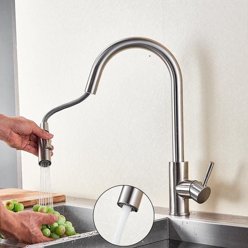 Stainless Steel Modern Pull Down Sensor Kitchen Faucet