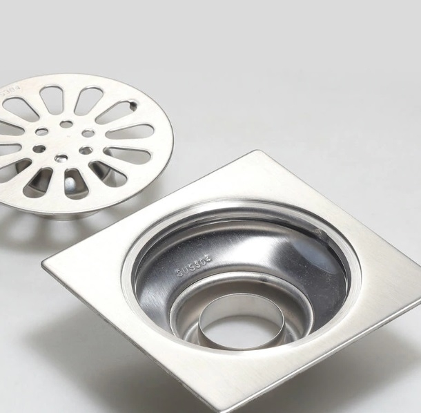 Stainless Steel Square with Round Shape Bathroom Drainage System