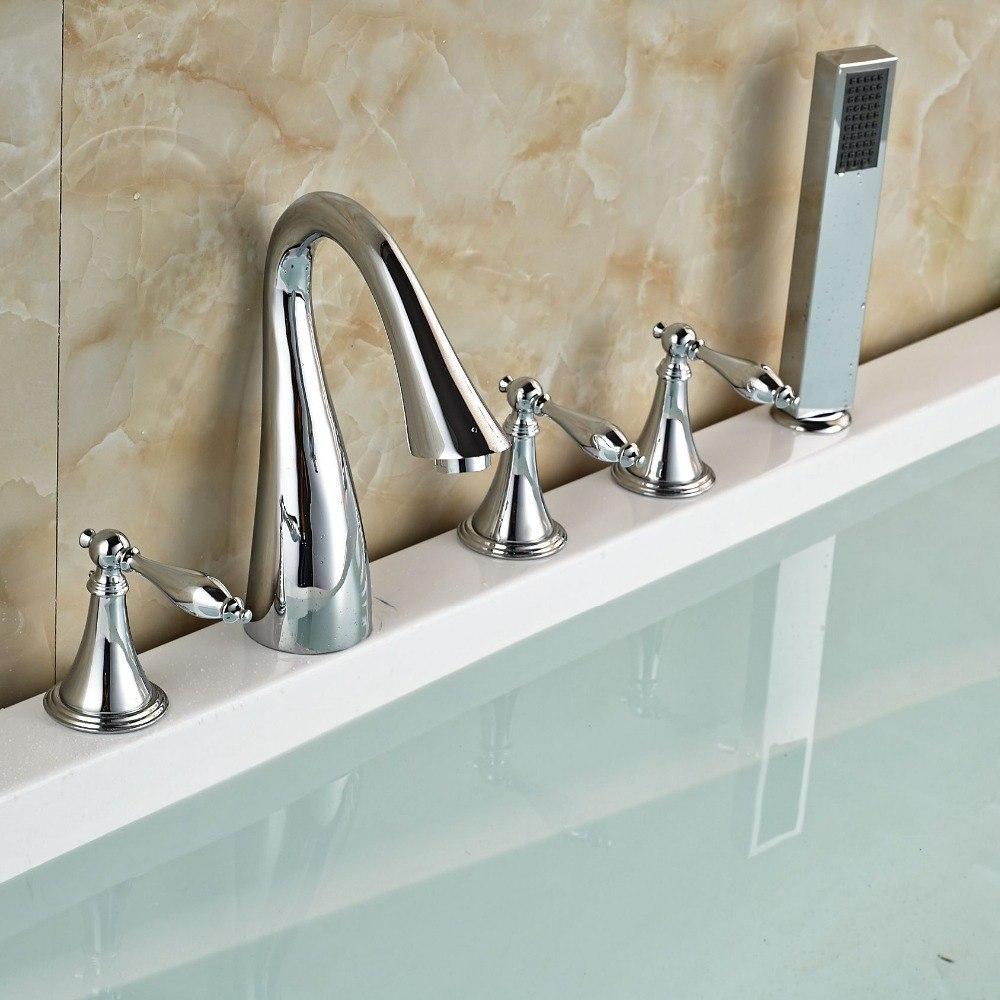 Stunning Look Chrome Finish Deck Mount Bathtub Faucet & Hand Shower