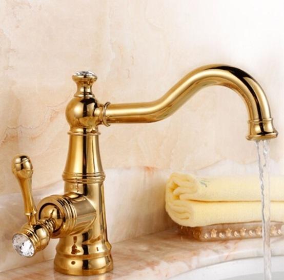 Stylish Crystal Handle Single Hole Bathroom Faucet